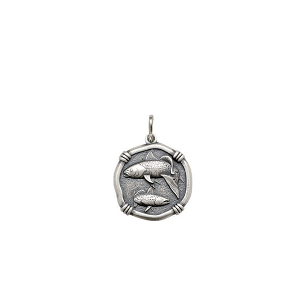 Guy Harvey Petite size Redfish & Trout Medallion Relic Finish Sterling Silver