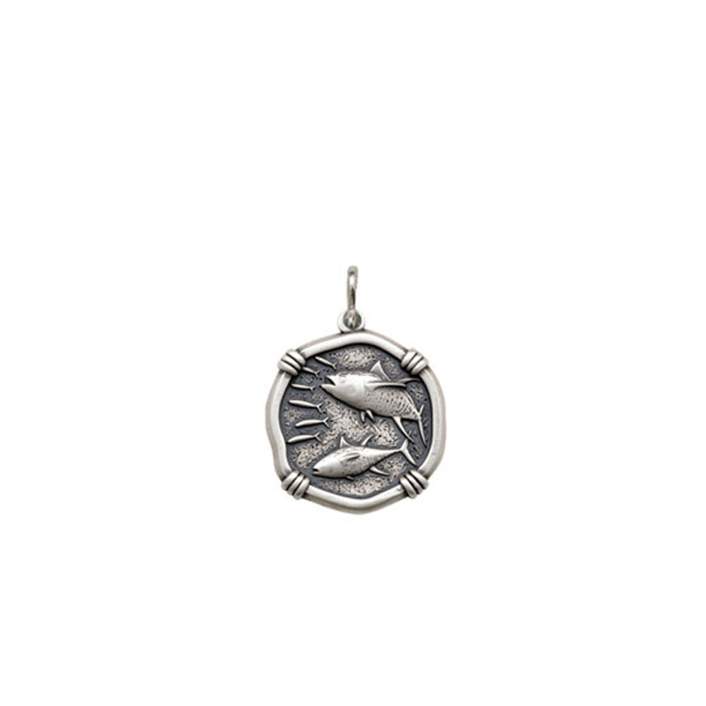 Guy Harvey Petite size Tuna Medallion Relic Finish Sterling Silver