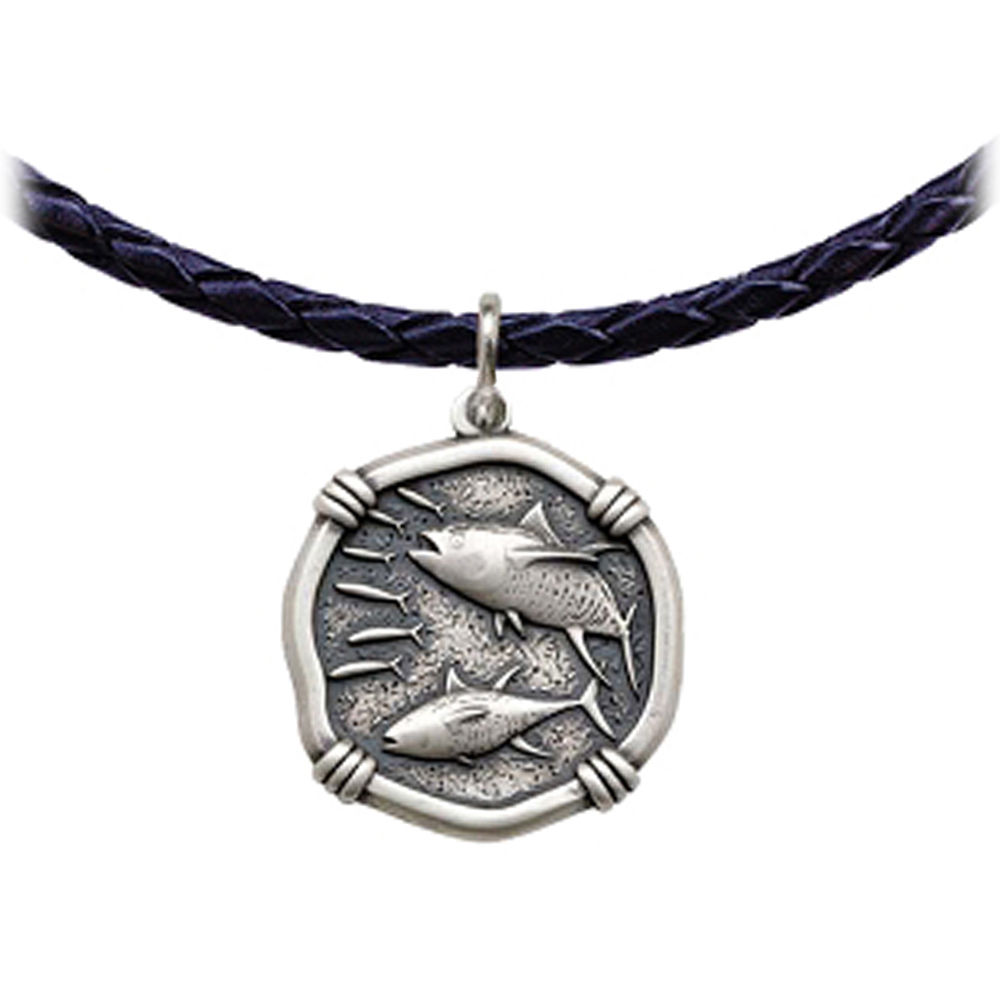 Guy Harvey Tuna Leather Necklace Relic Finish 25mm Sterling Silver