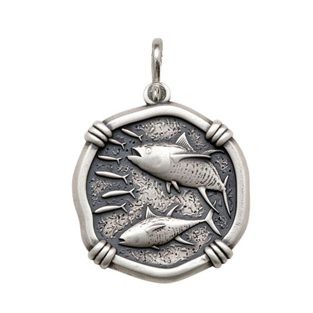 Guy Harvey Large size Tuna Medallion Relic Finish Sterling Silver