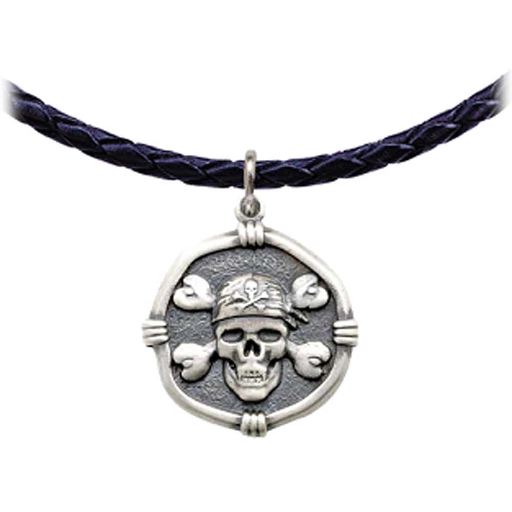 Guy Harvey Pirate Leather Necklace Relic Finish 25mm Sterling Silver
