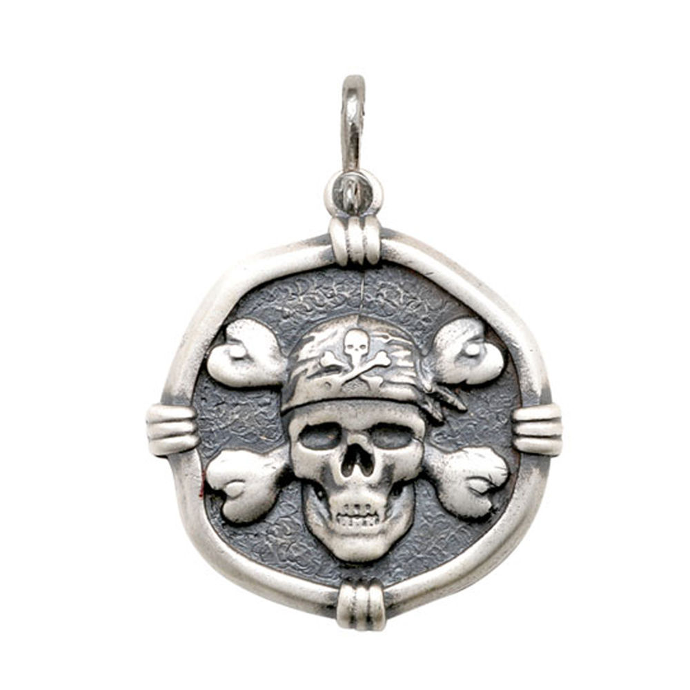 Guy Harvey Large size Pirate Medallion Relic Finish Sterling Silver