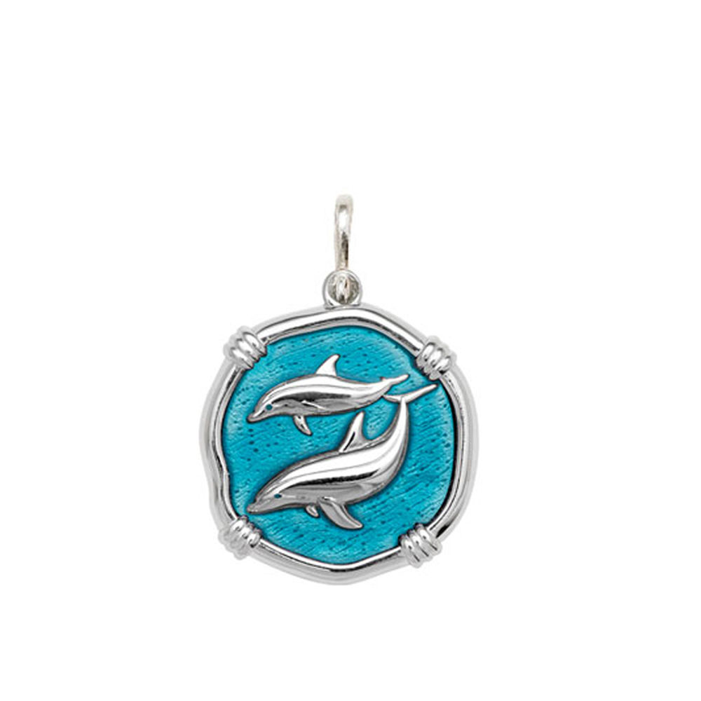 Guy Harvey Medium size Cayman Green enameled Sterling Silver Porpoises Medallion