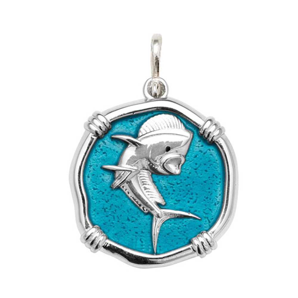 Guy Harvey Large size Cayman Green enameled Sterling Silver Dolphin Medallion