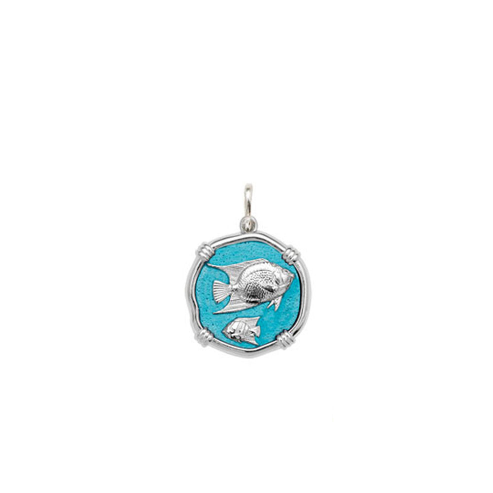 Guy Harvey Petite size Cayman Green enameled Sterling Silver Angelfish Medallion
