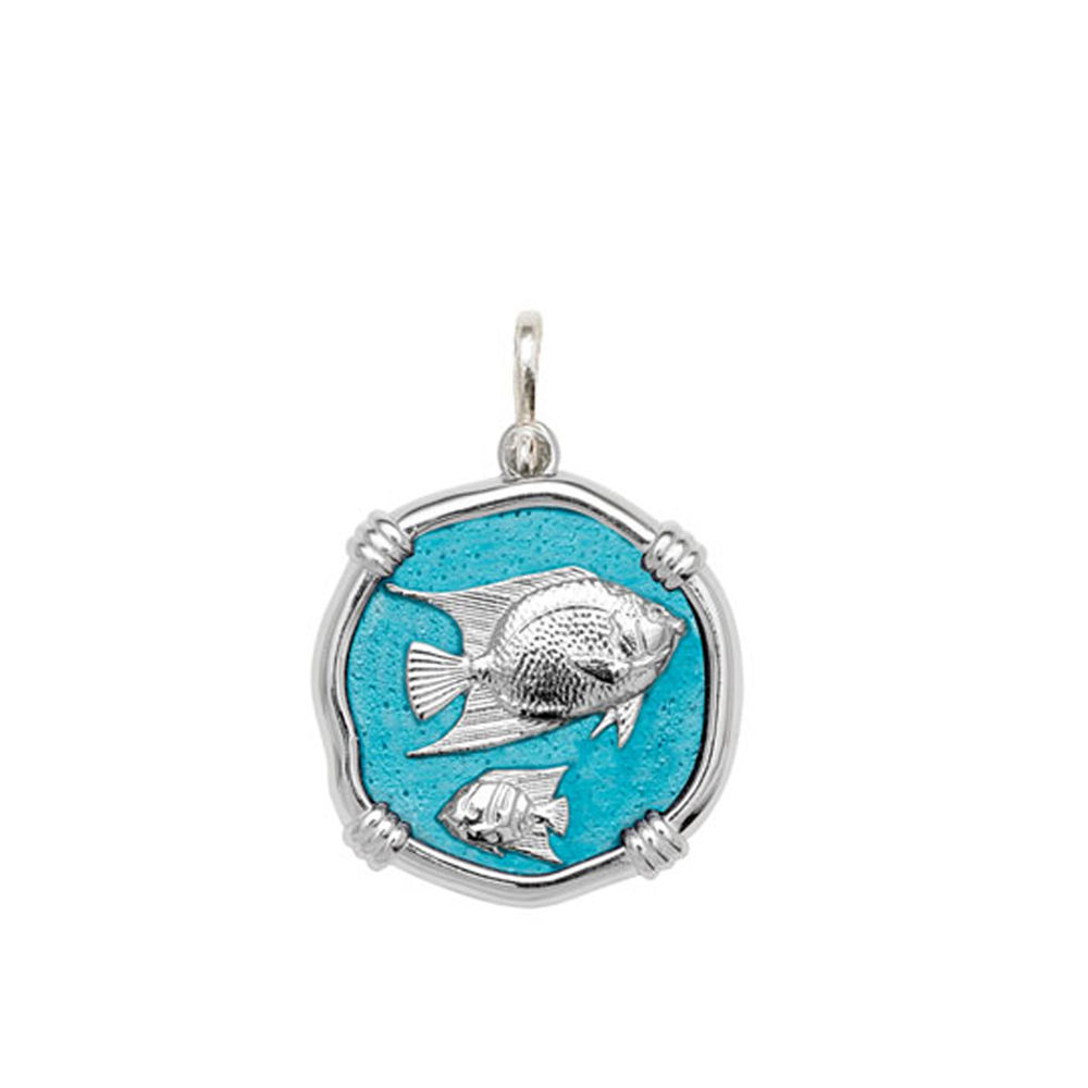 Guy Harvey Medium size Cayman Green enameled Sterling Silver Angelfish Medallion