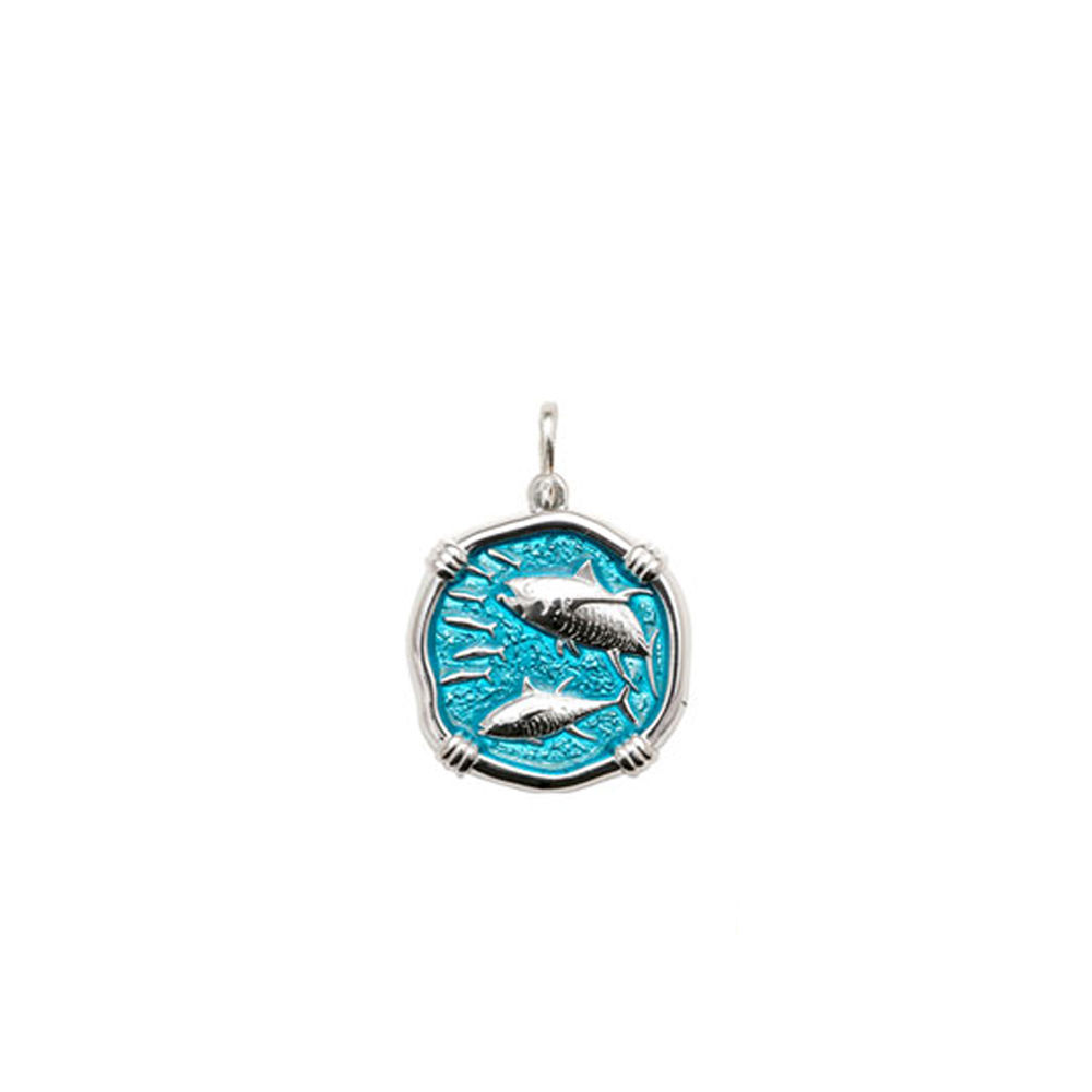Guy Harvey Petite size Cayman Green enameled Sterling Silver Tuna Medallion