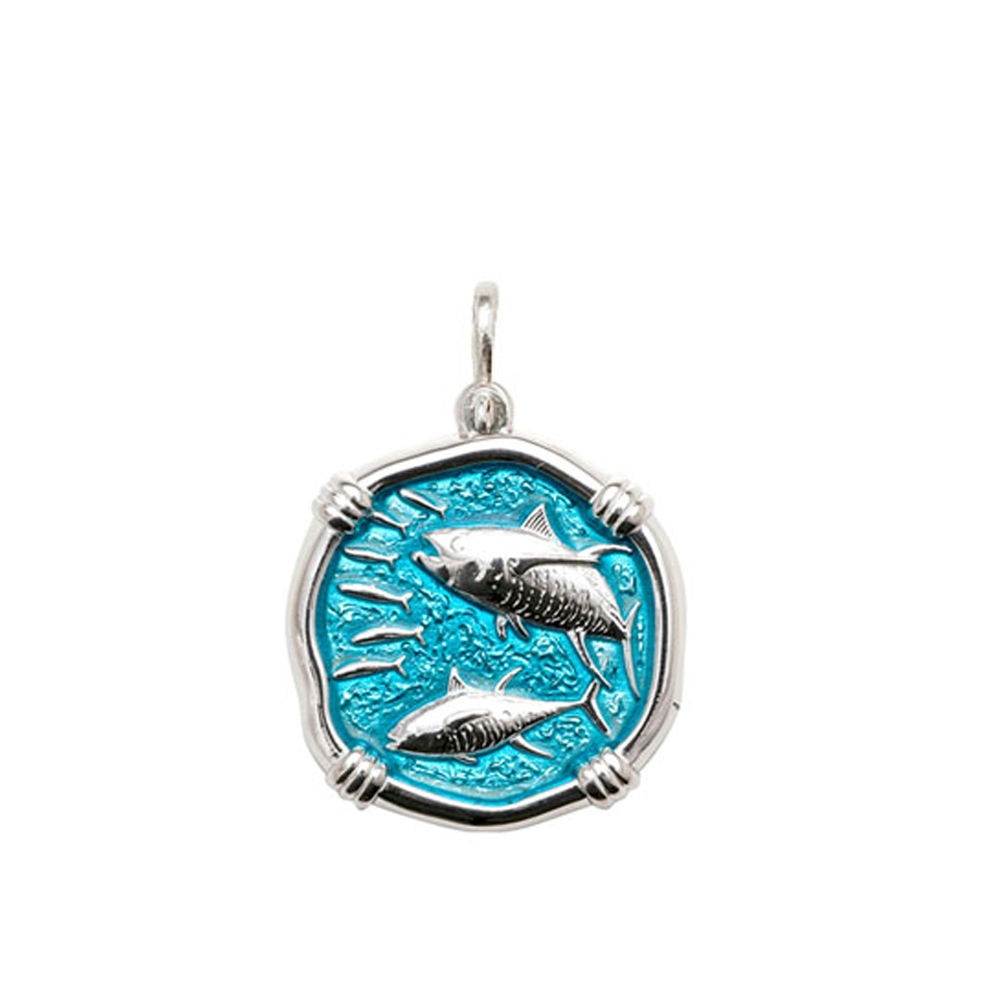 Guy Harvey Medium size Cayman Green enameled Sterling Silver Tuna Medallion