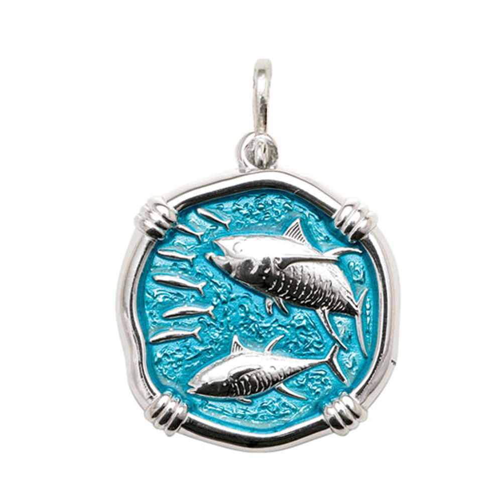 Guy Harvey Large size Cayman Green enameled Sterling Silver Tuna Medallion
