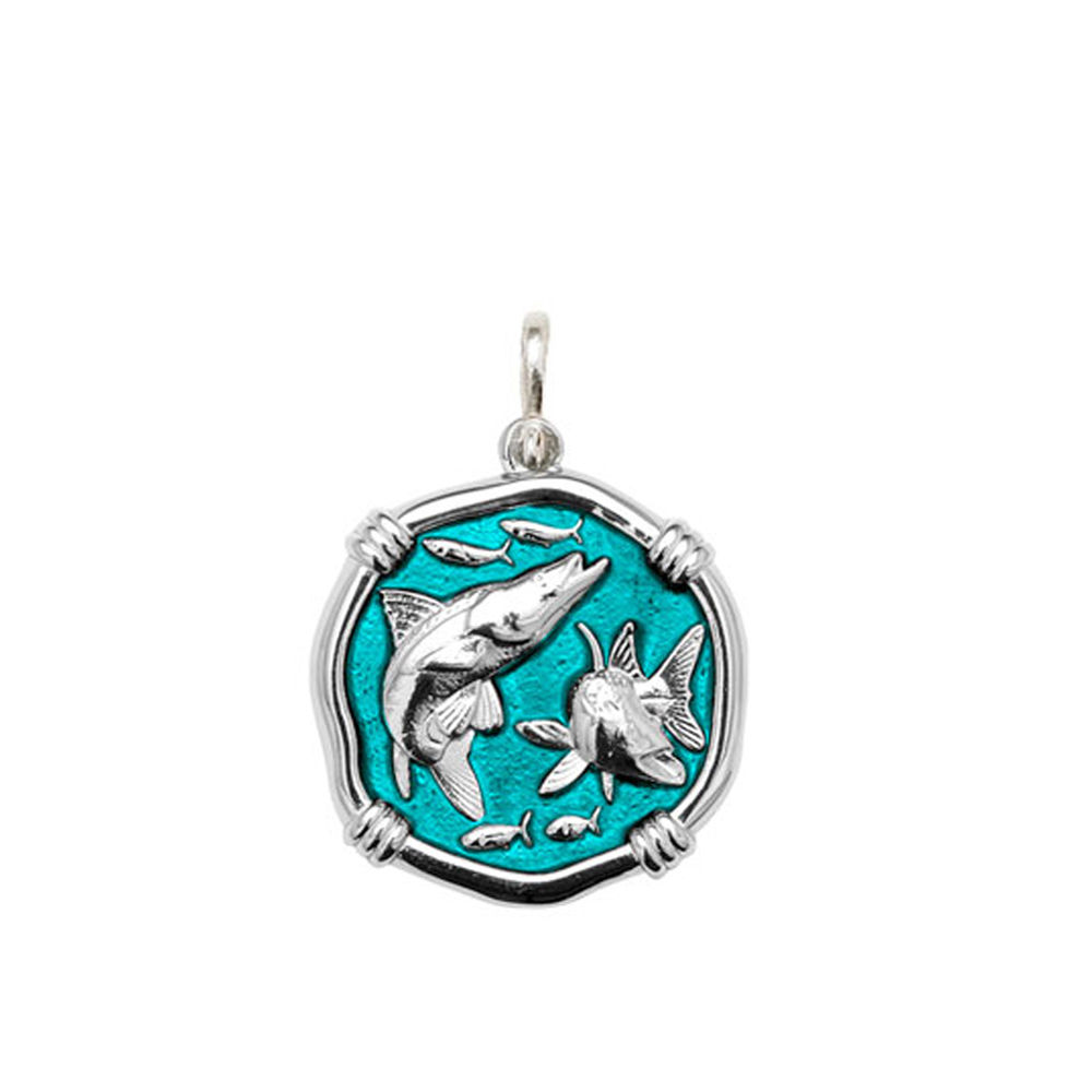 Guy Harvey Medium size Cayman Green enameled Sterling Silver Snook Medallion