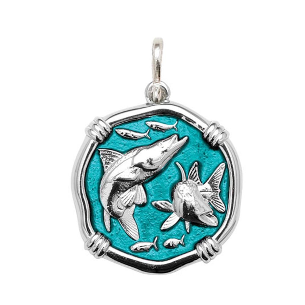 Guy Harvey Large size Cayman Green enameled Sterling Silver Snook Medallion