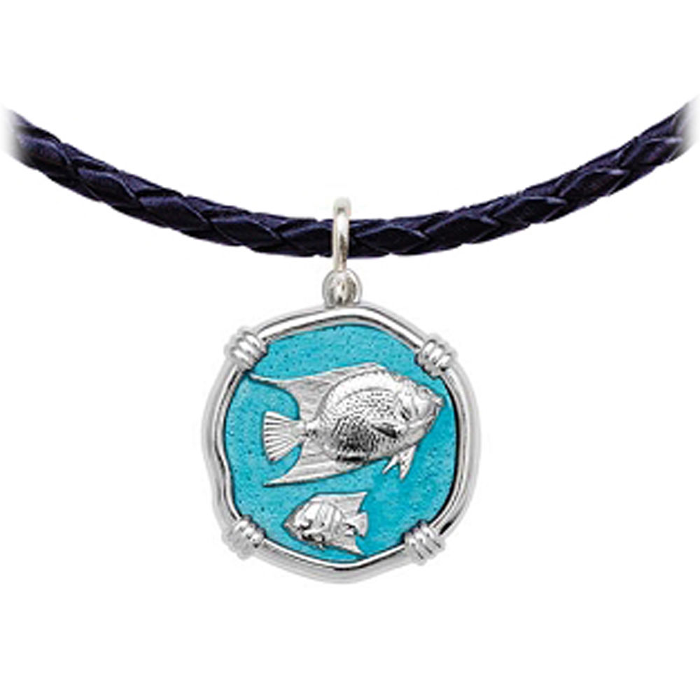 Guy Harvey Angelfish Leather Necklace Cayman Green Enamel Bright Finish 25mm Sterling Silver