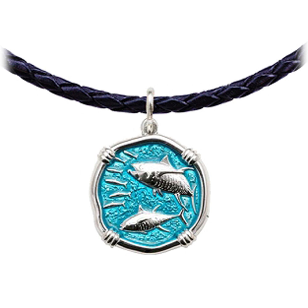 Guy Harvey Tuna Leather Necklace Cayman Green Enamel Bright Finish 25mm Sterling Silver