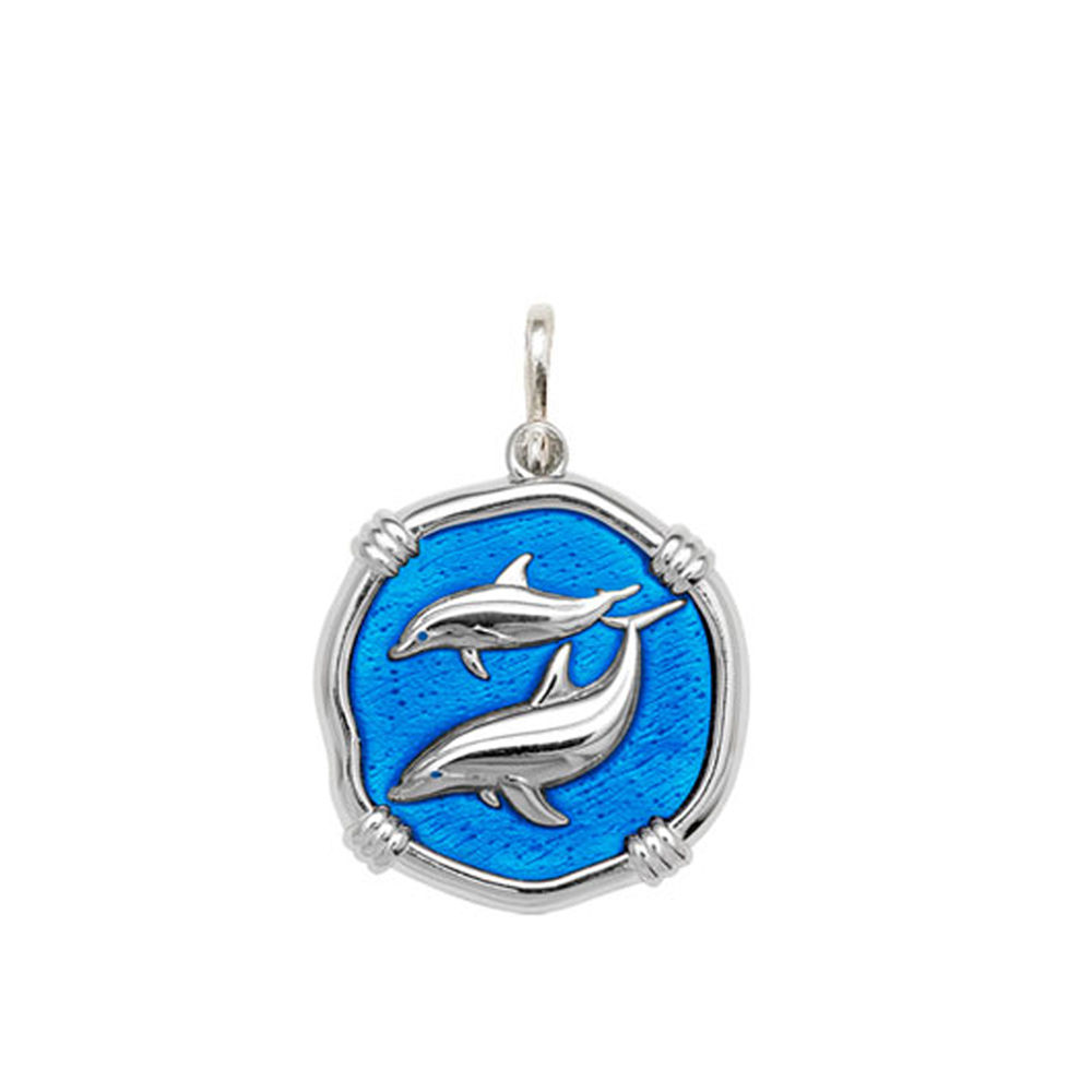 Guy Harvey Medium size Caribbean Blue enameled Sterling Silver Porpoises Medallion