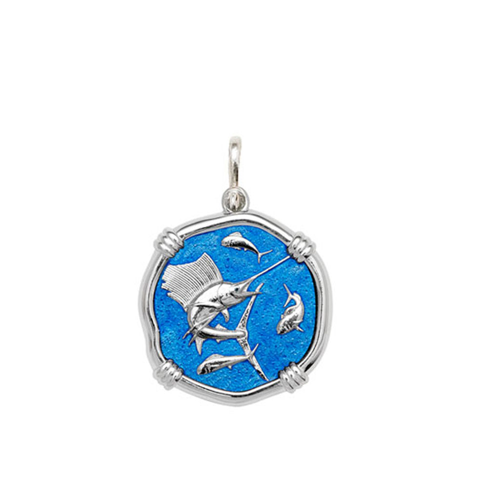 Guy Harvey Medium size Caribbean Blue enameled Sterling Silver Sailfish Medallion
