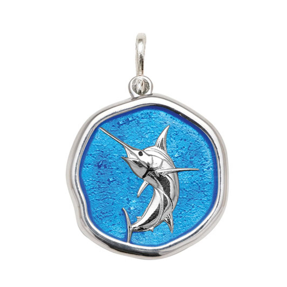 Guy Harvey Large size Caribbean Blue enameled Sterling Silver Marlin Medallion