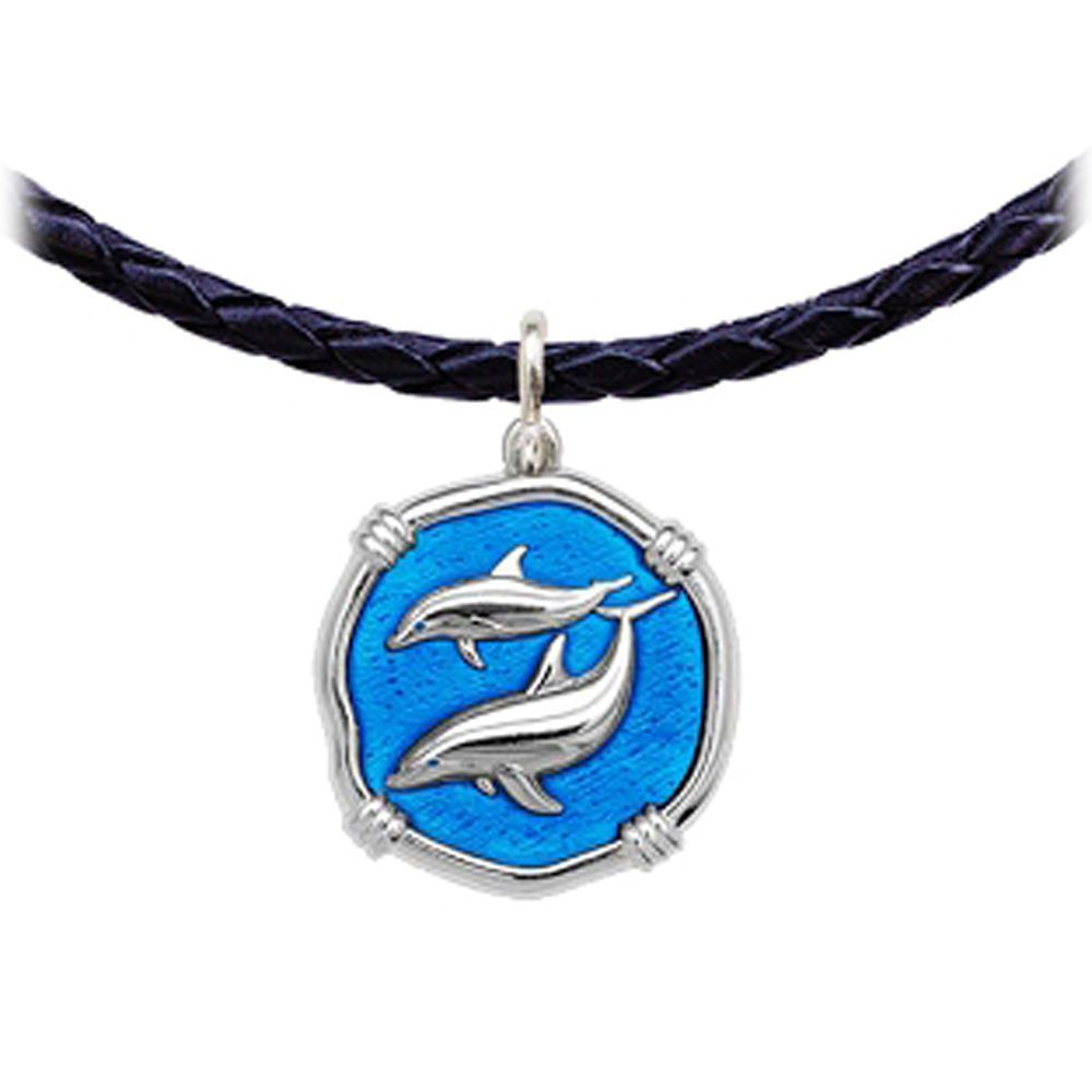 Guy Harvey Porpoises Leather Necklace Caribbean Blue Enamel Bright Finish 25mm Sterling Silver