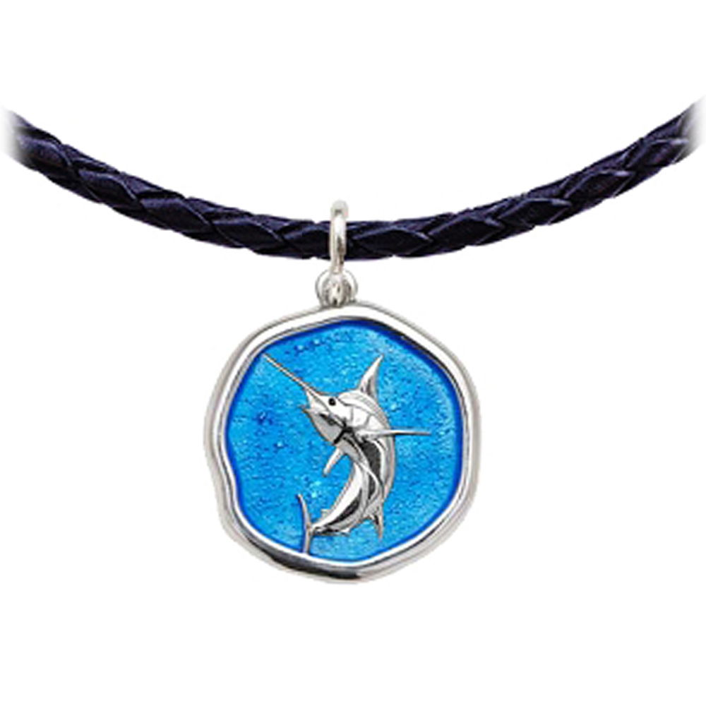 Guy Harvey Marlin Leather Necklace Caribbean Blue Enamel Bright Finish 25mm Sterling Silver