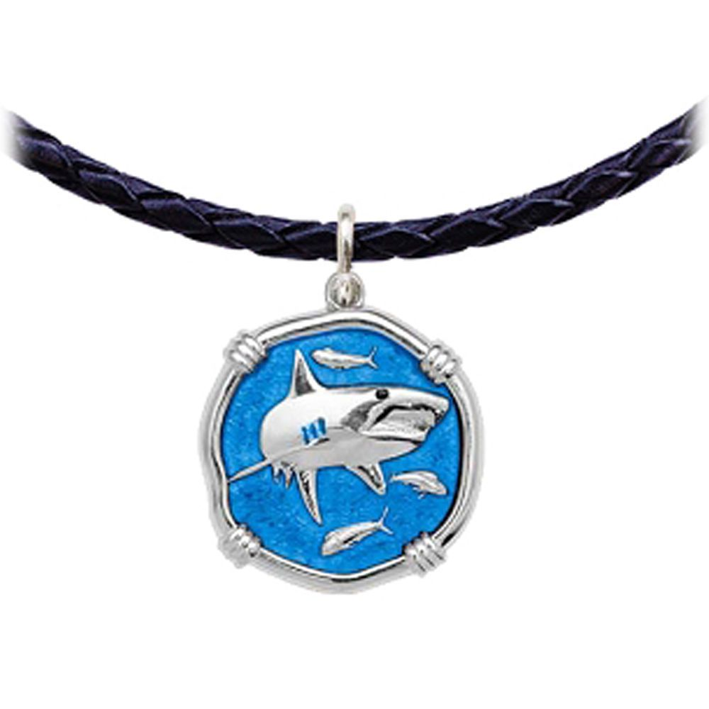 Shark Leather Necklace Caribbean Blue Enamel Bright Finish 25mm Sterling Silver