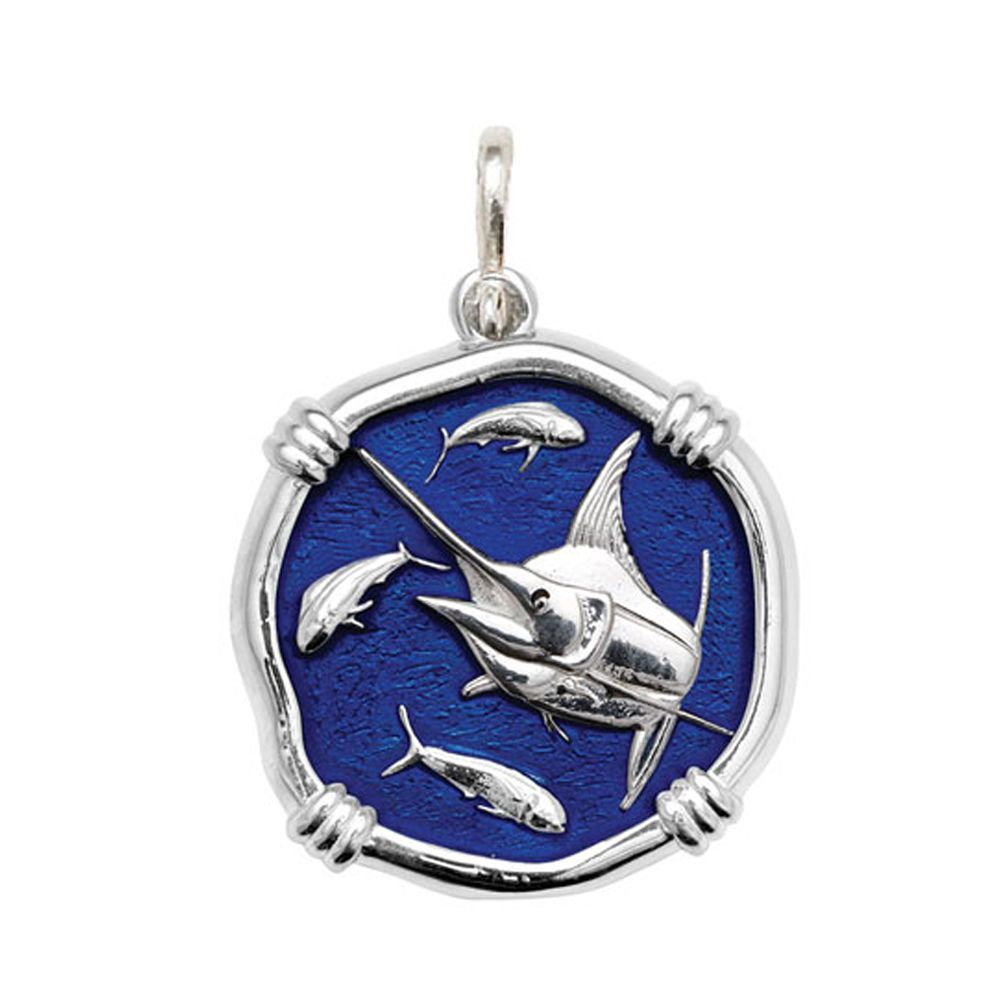 Guy Harvey Large size Gulf Stream Blue enameled Sterling Silver Marlin Medallion