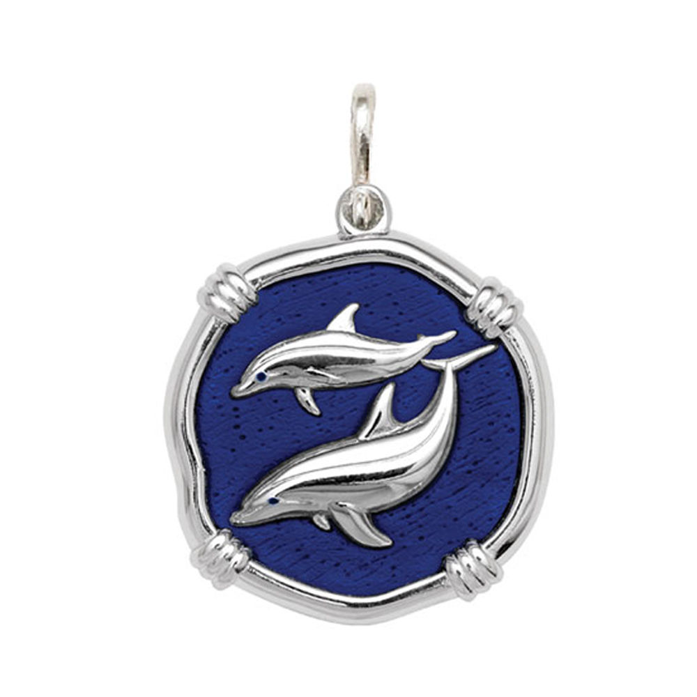 Guy Harvey Large size Gulf Stream Blue enameled Sterling Silver Porpoises Medallion