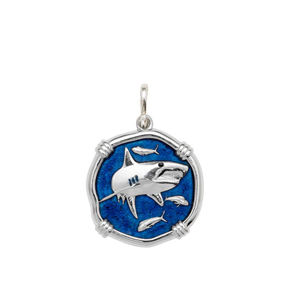 Guy Harvey Medium size Gulf Stream Blue enameled Sterling Silver Shark Medallion