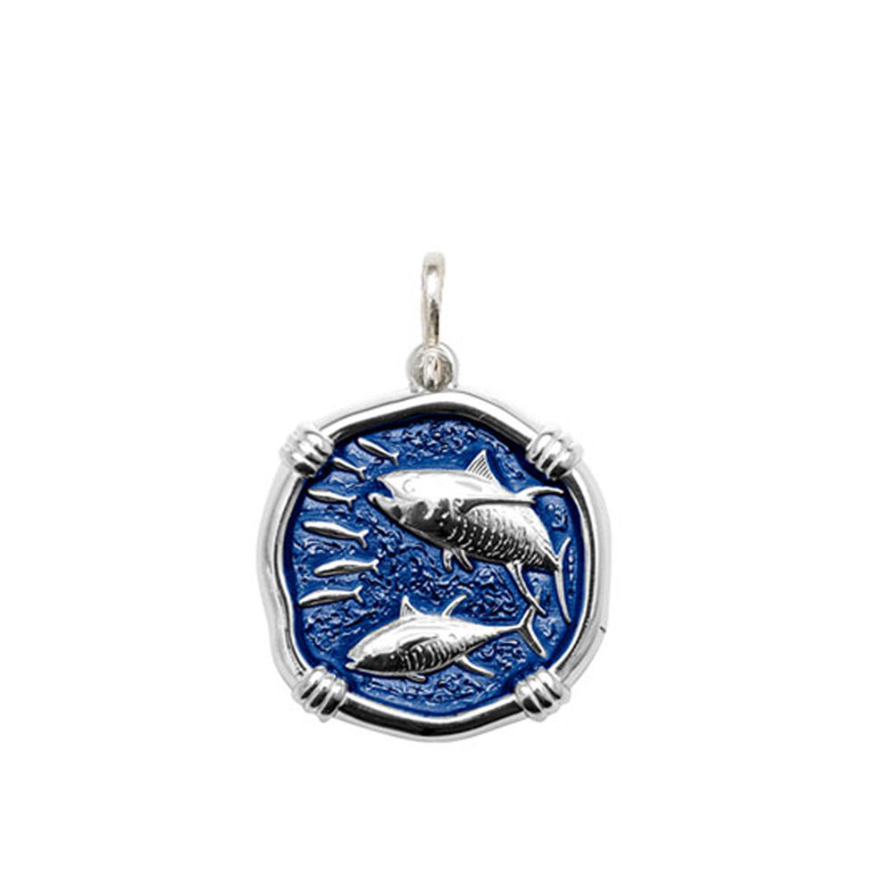 Gulf Stream Blue Tuna Enamel Medallion Only Bright Finish 25mm Sterling Silver