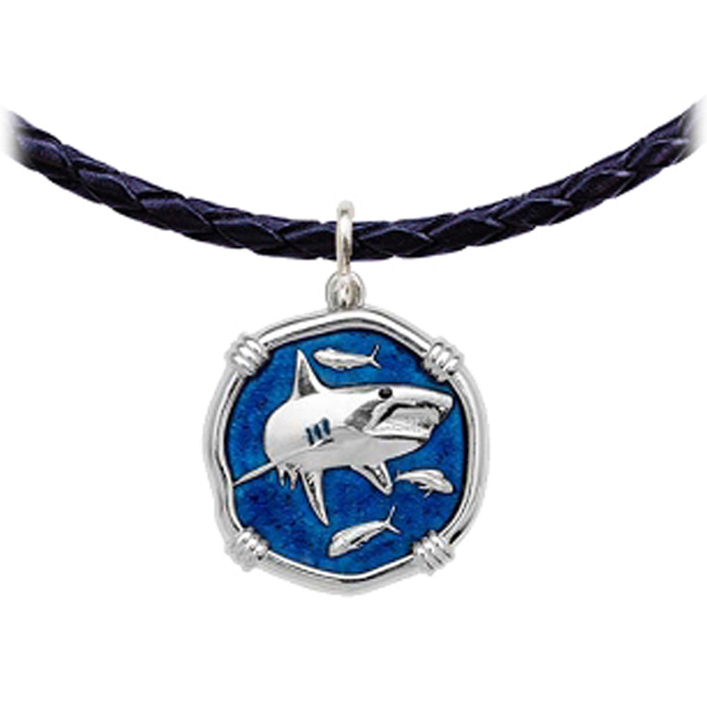 Guy Harvey Shark Leather Necklace Gulf Stream Blue Enamel Bright Finish 25mm Sterling Silver