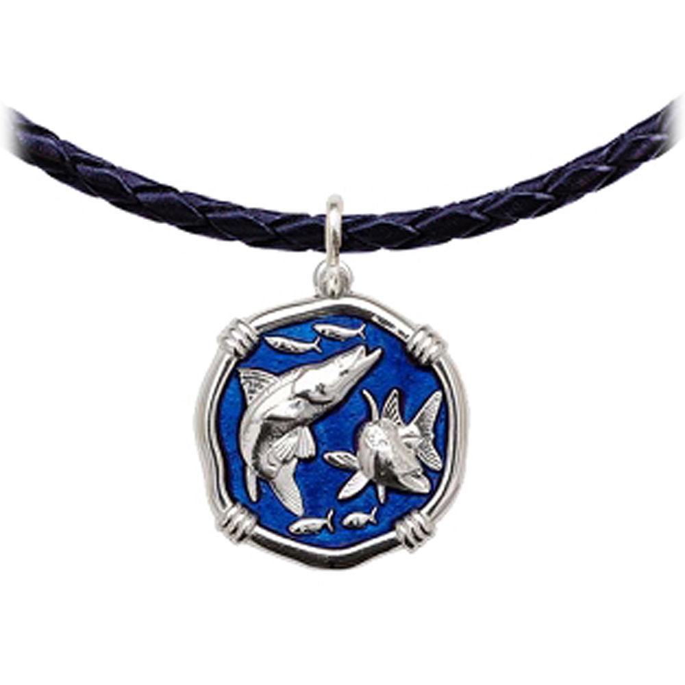 Guy Harvey Snook Leather Necklace Gulf Stream Blue Enamel Bright Finish 25mm Sterling Silver