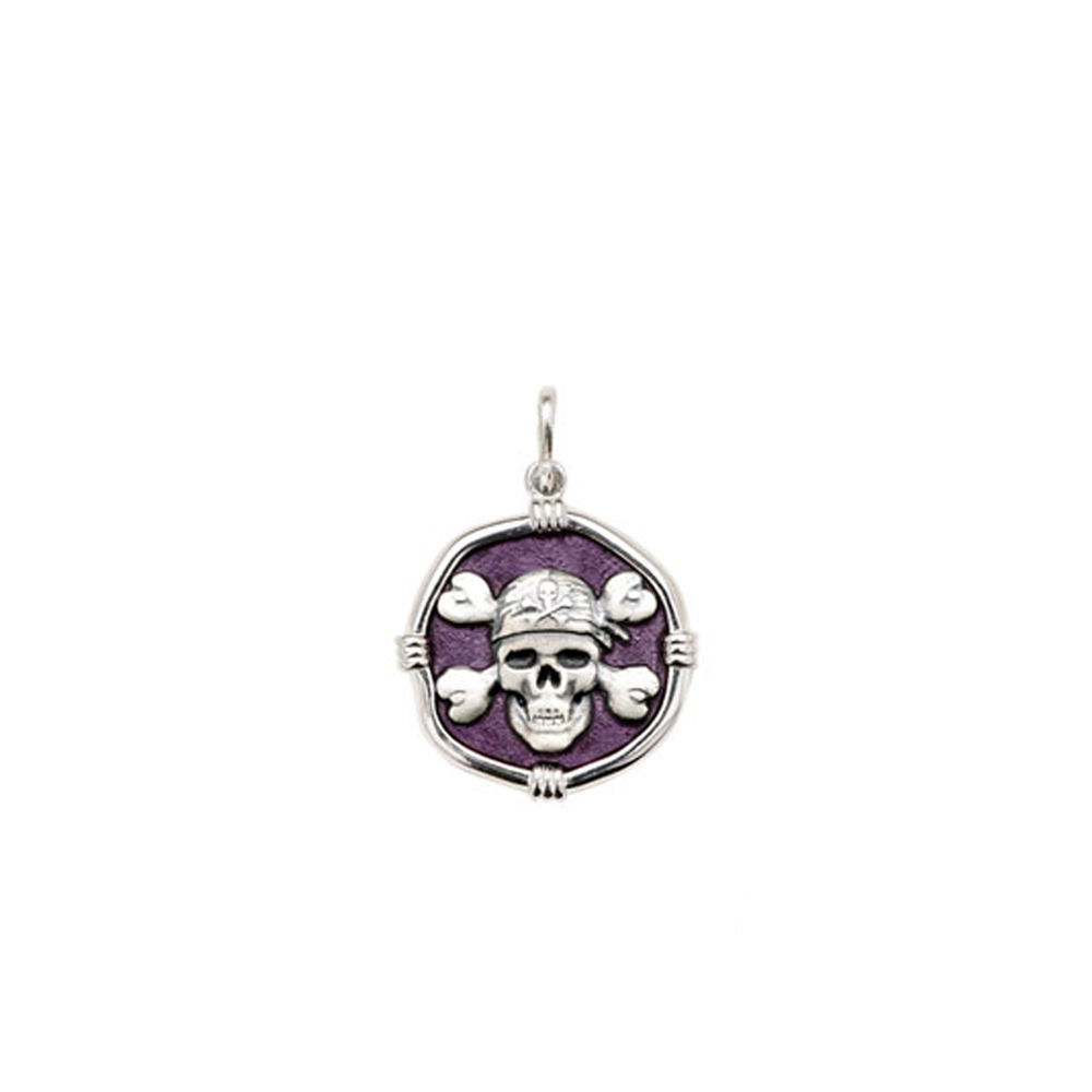 Guy Harvey Petite size Purple enameled Sterling Silver Pirate Medallion