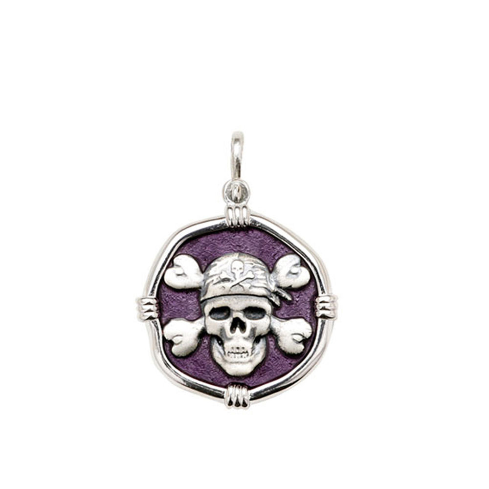 Guy Harvey Medium size Purple enameled Sterling Silver Pirate Medallion