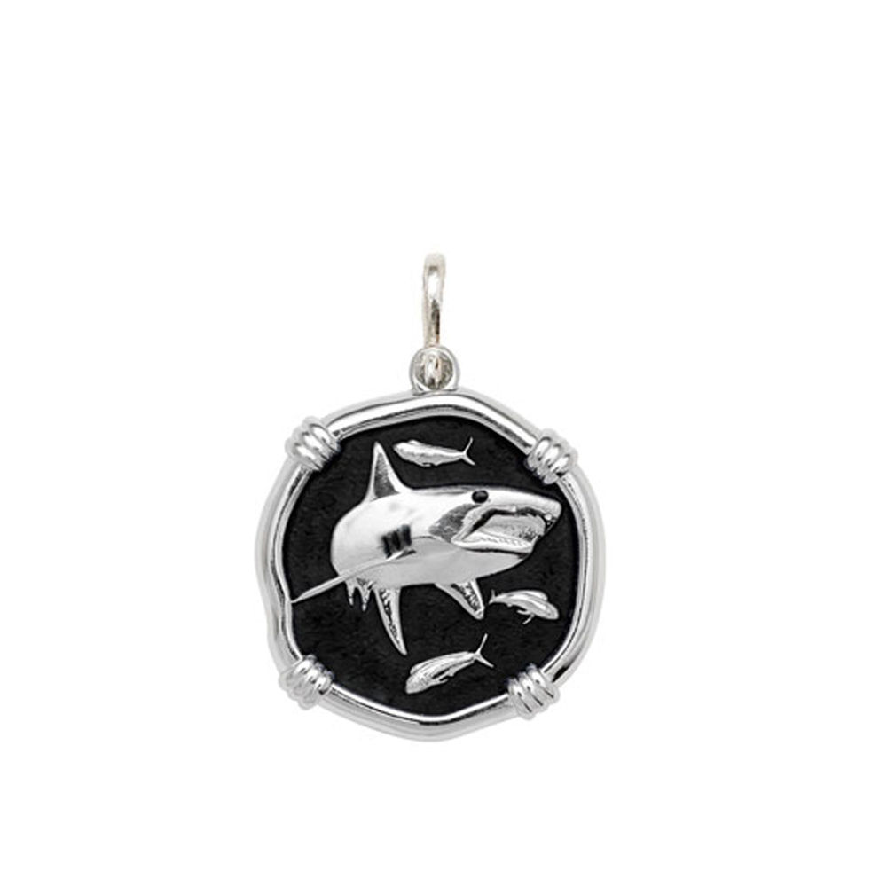 Guy Harvey Medium size Black enameled Sterling Silver Shark Medallion
