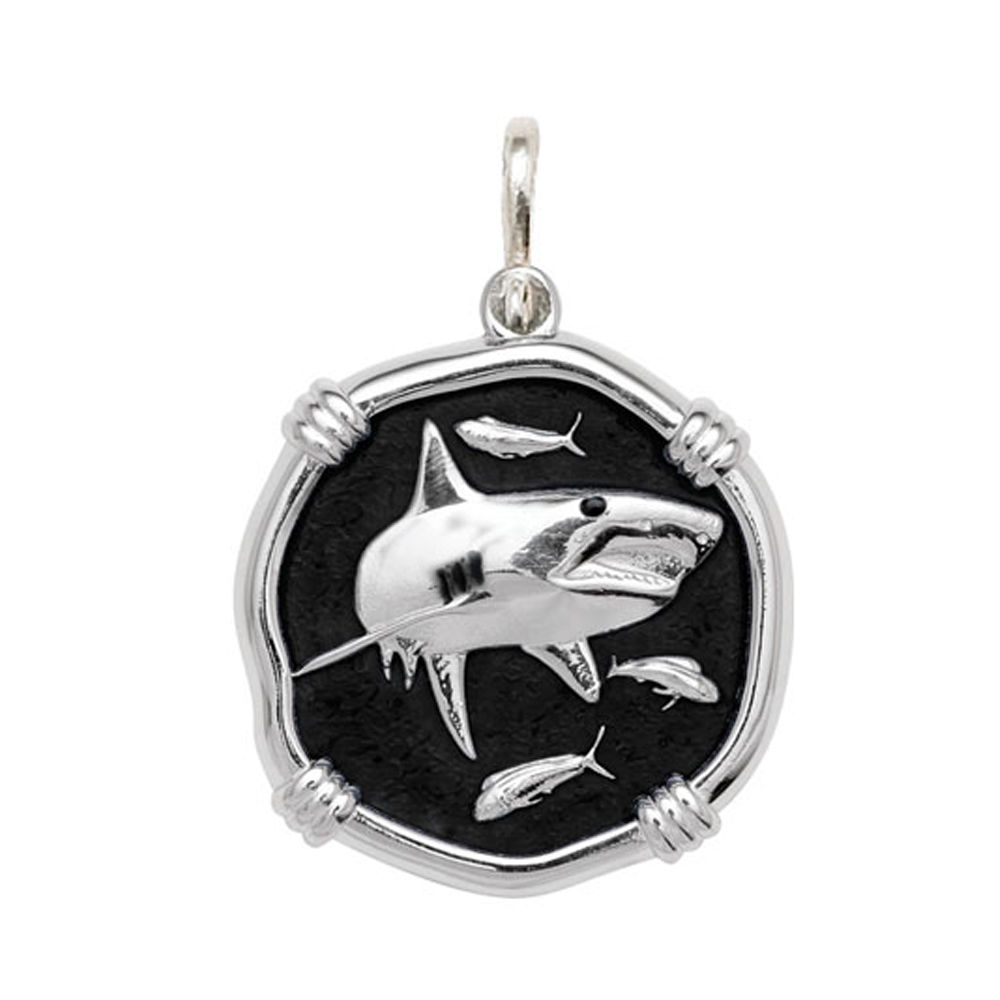 Guy Harvey Large size Black enameled Sterling Silver Shark Medallion