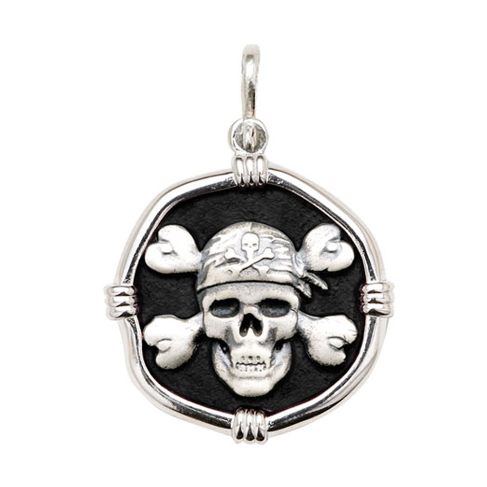 Guy Harvey Large size Black enameled Sterling Silver Pirate Medallion