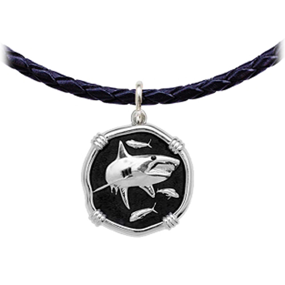 Guy Harvey Shark Leather Necklace Black Enamel Bright Finish 25mm Sterling Silver