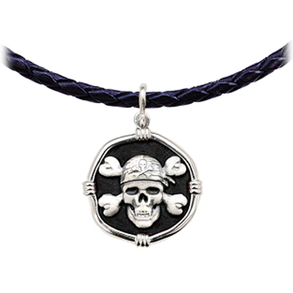 Guy Harvey Pirate Leather Necklace Black Enamel Bright Finish 25mm Sterling Silver