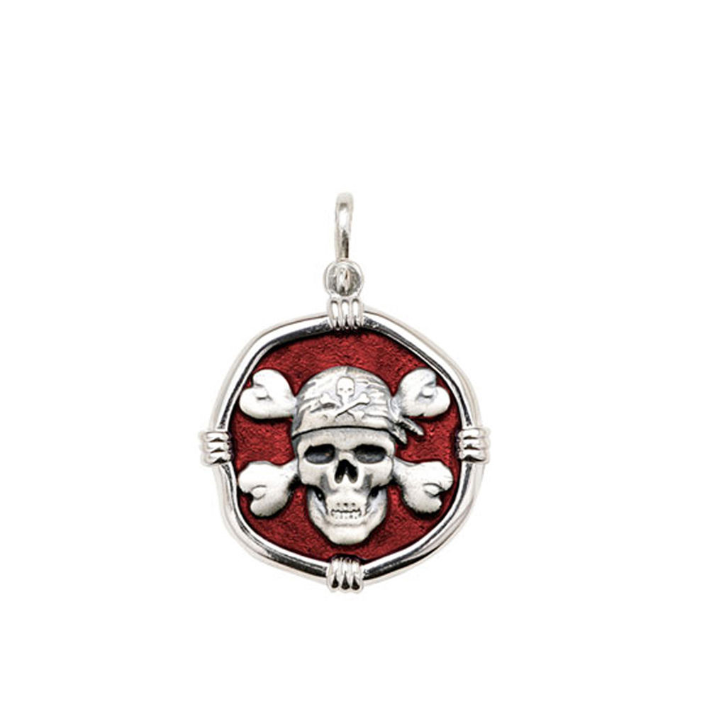 Guy Harvey Medium size Red enameled Sterling Silver Pirate Medallion
