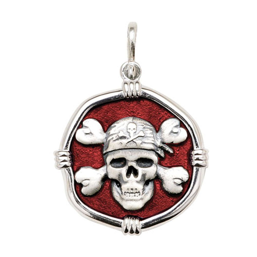 Guy Harvey Large size Red Pirate Enamel Medallion Only Bright Finish 35mm Sterling Silver