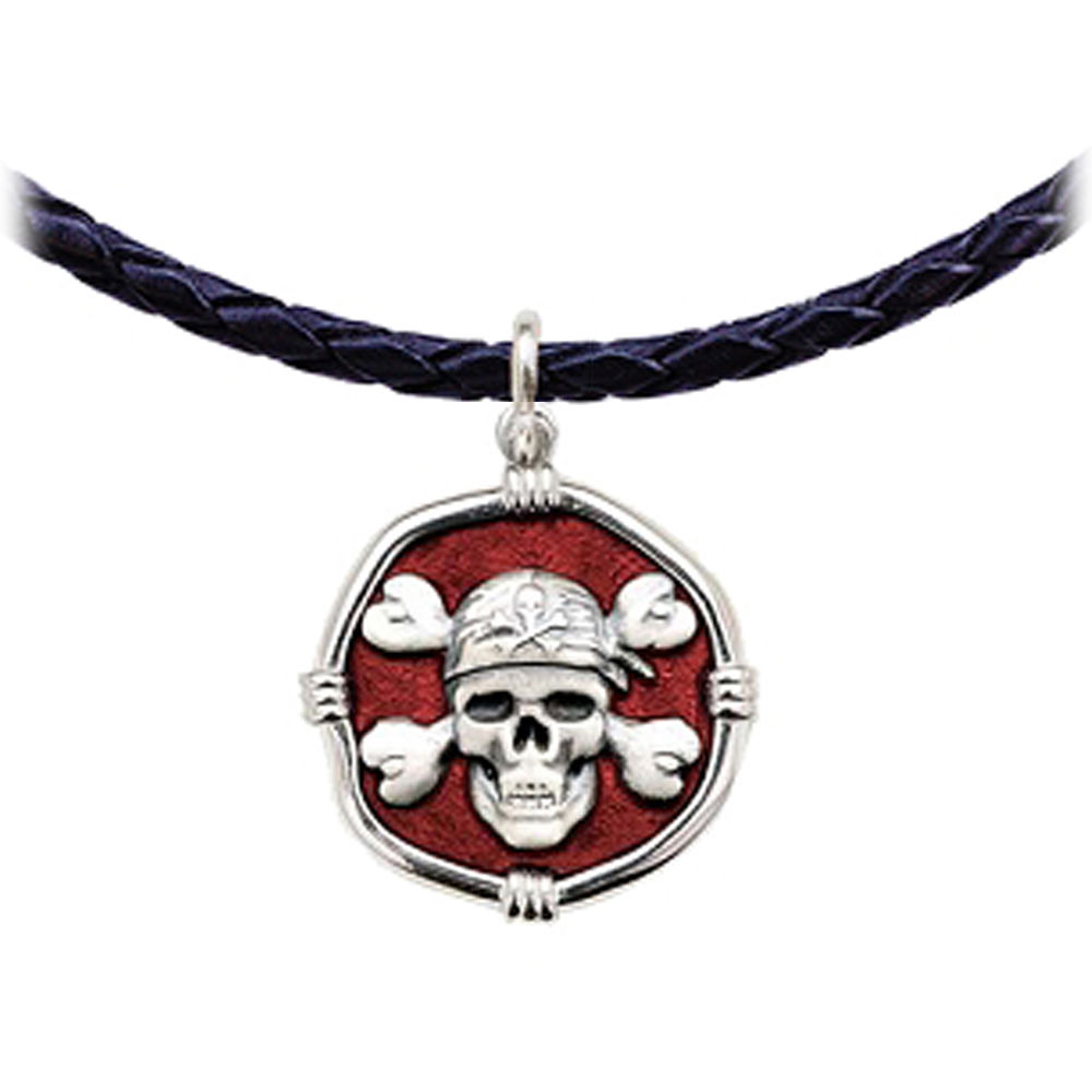 Guy Harvey Pirate Leather Necklace Red Enamel Bright Finish 25mm Sterling Silver