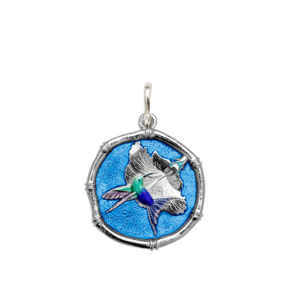 Guy Harvey Medium size Full Color Blue enameled Sterling Silver Hummingbird Medallion