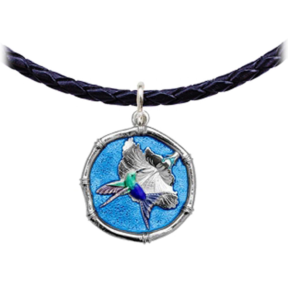 Guy Harvey Hummingbird Sterling Silver Leather Necklace Full Color Blue Enamel