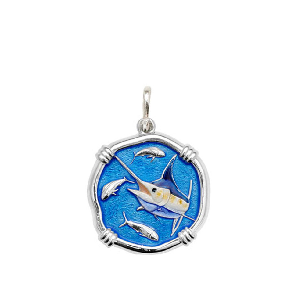 Guy Harvey Medium size Full Color enameled Sterling Silver Marlin Medallion