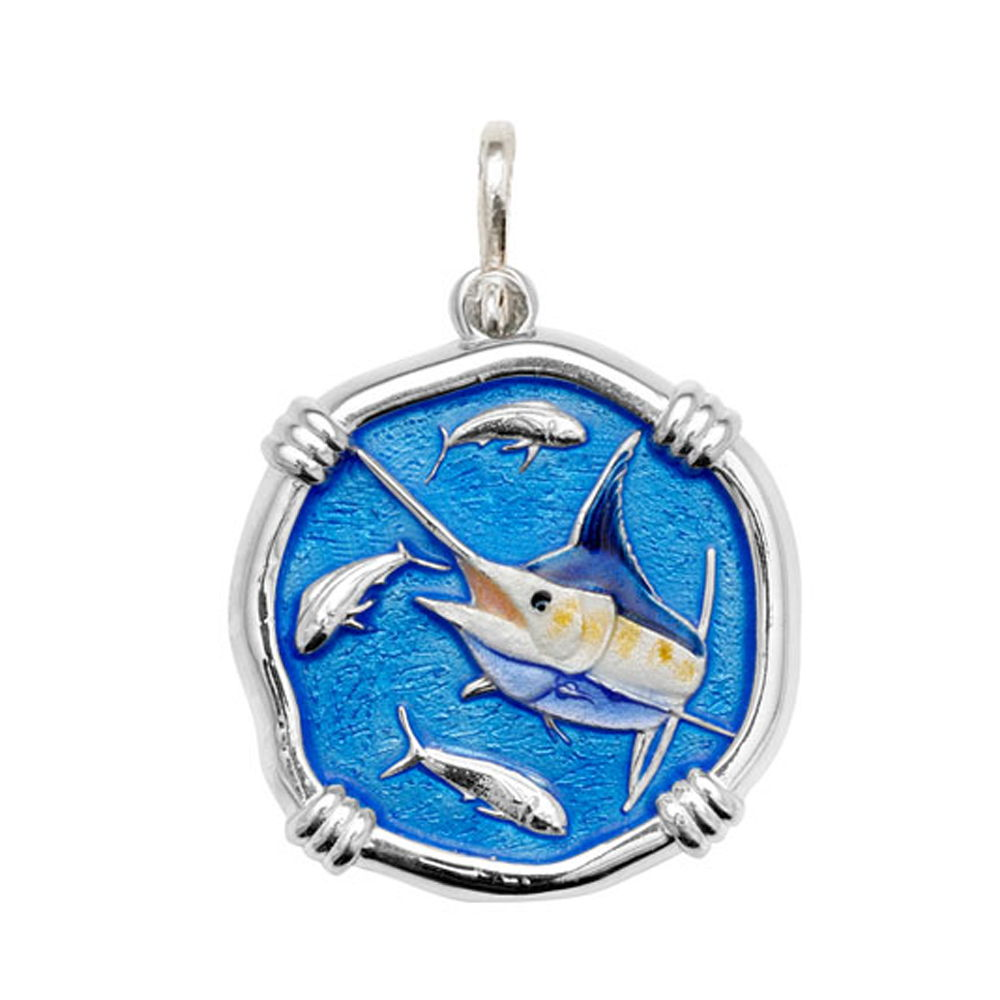 Guy Harvey Large size Full Color enameled Sterling Silver Marlin Medallion