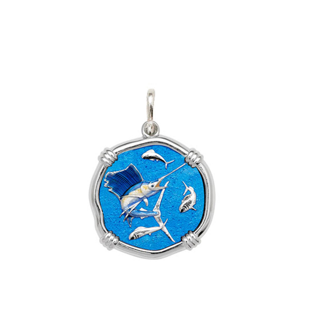 Guy Harvey Medium size Full Color enameled Sterling Silver Sailfish Medallion