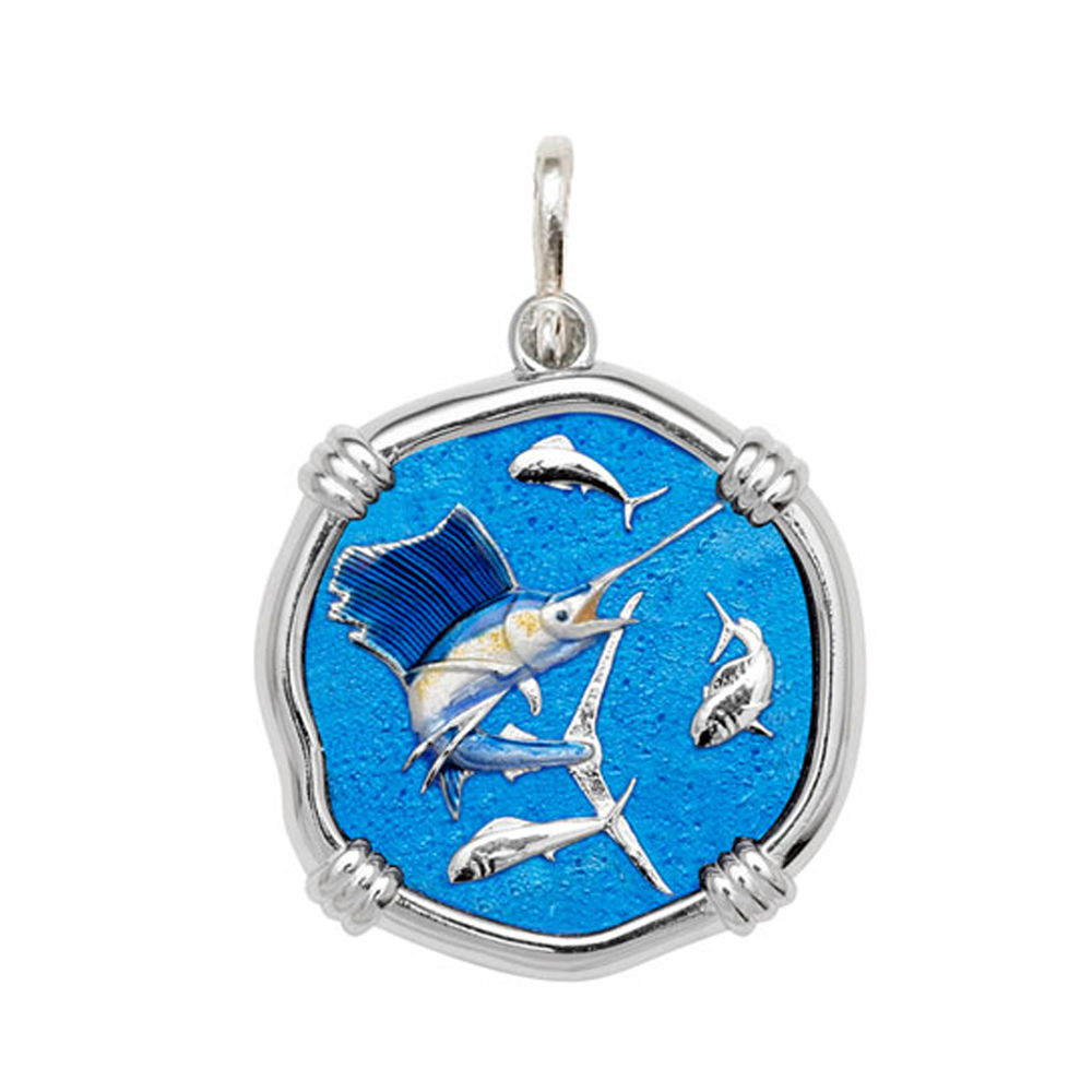 Guy Harvey Large size Full Color enameled Sterling Silver Sailfish Medallion