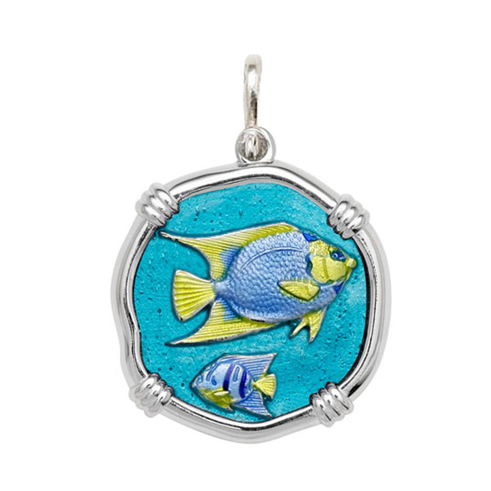 Guy Harvey Large size Full Color enameled Sterling Silver Angelfish Medallion