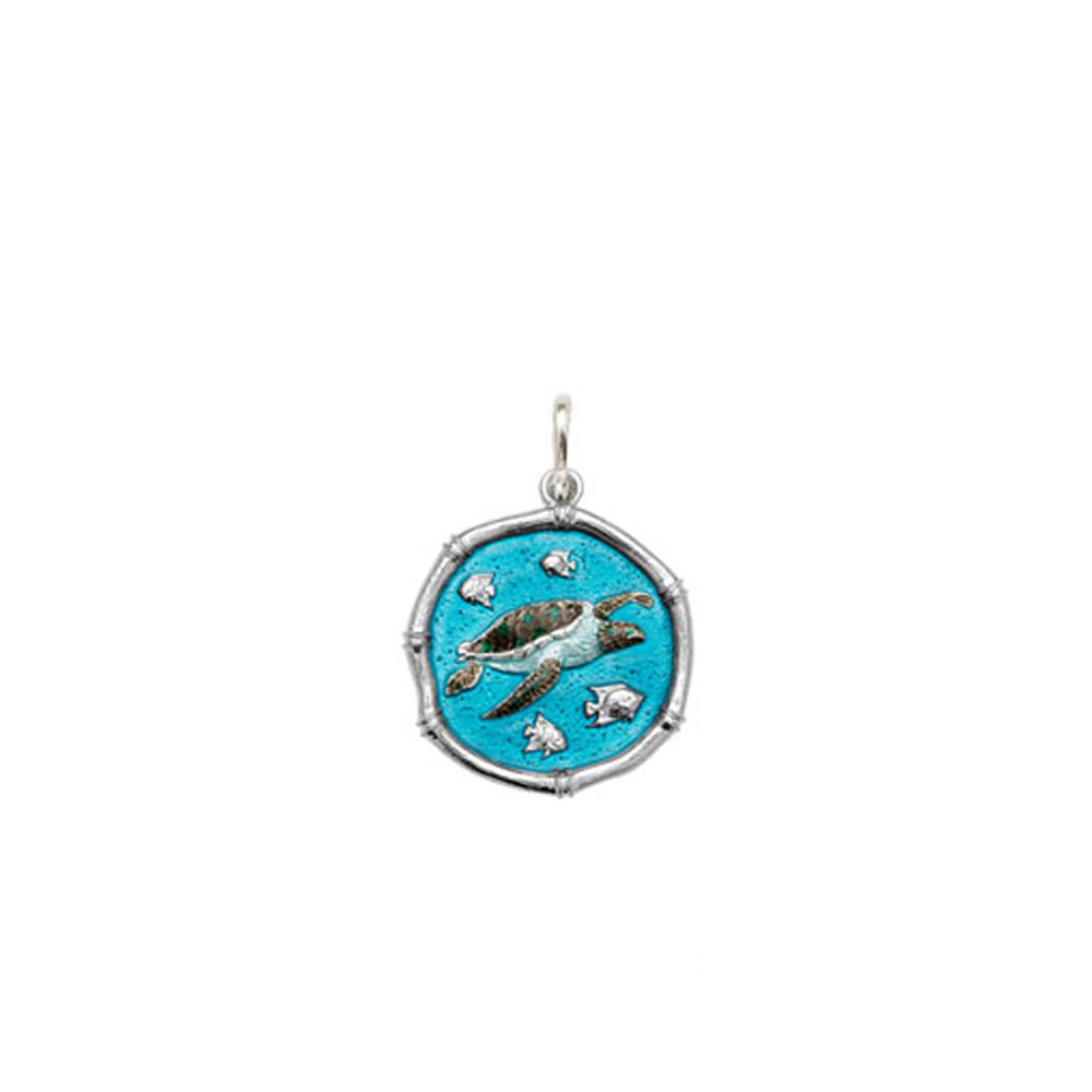Guy Harvey Petite size Full Color enameled Sterling Silver Sea Turtle Medallion
