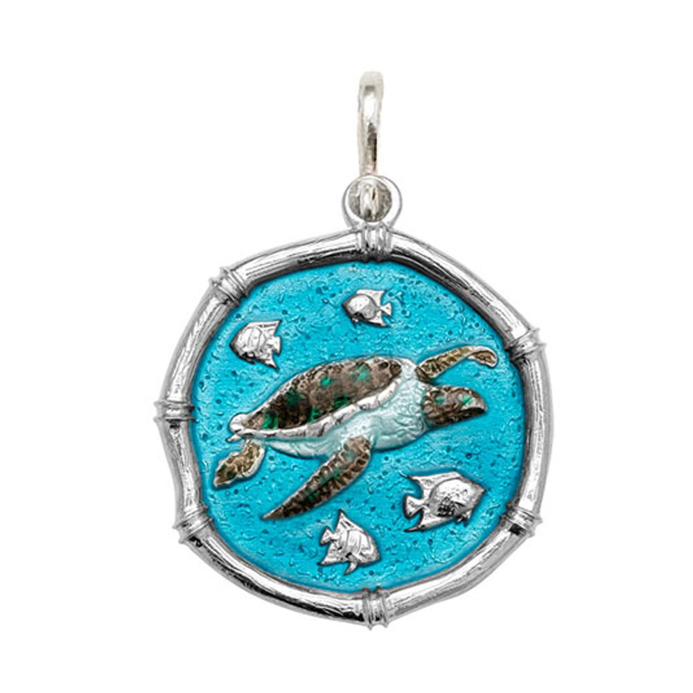 Guy Harvey Large size Full Color enameled Sterling Silver Sea Turtle Medallion