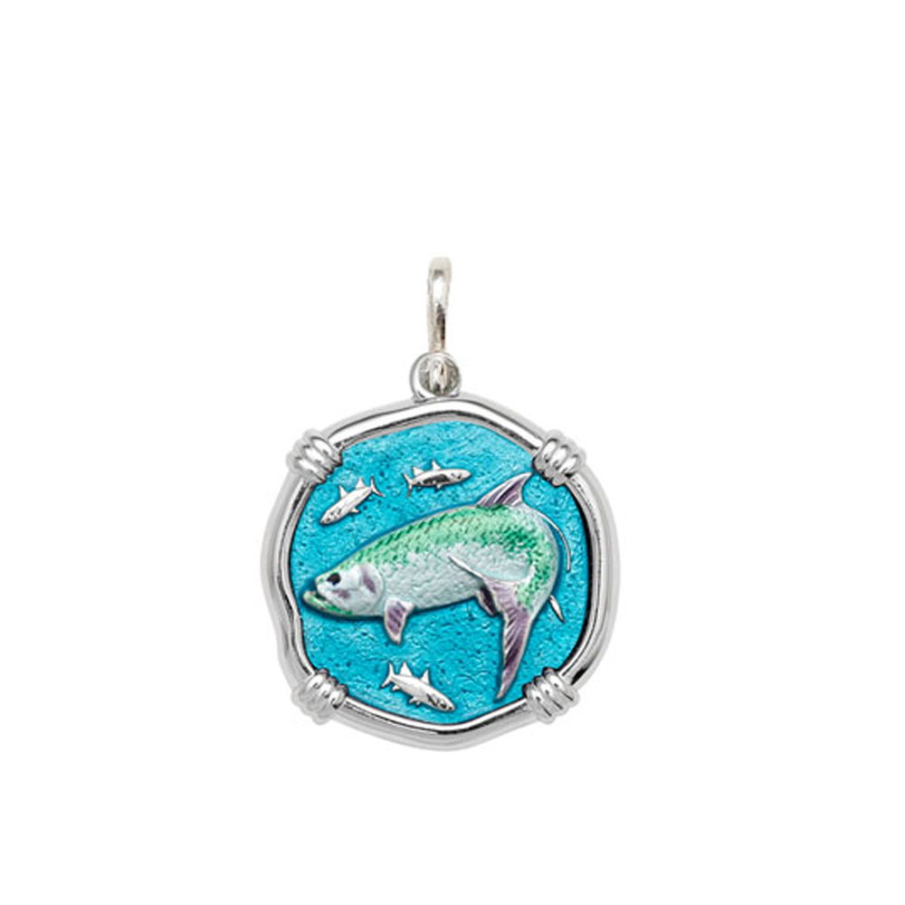 Guy Harvey Medium size Full Color enameled Sterling Silver Tarpon Medallion