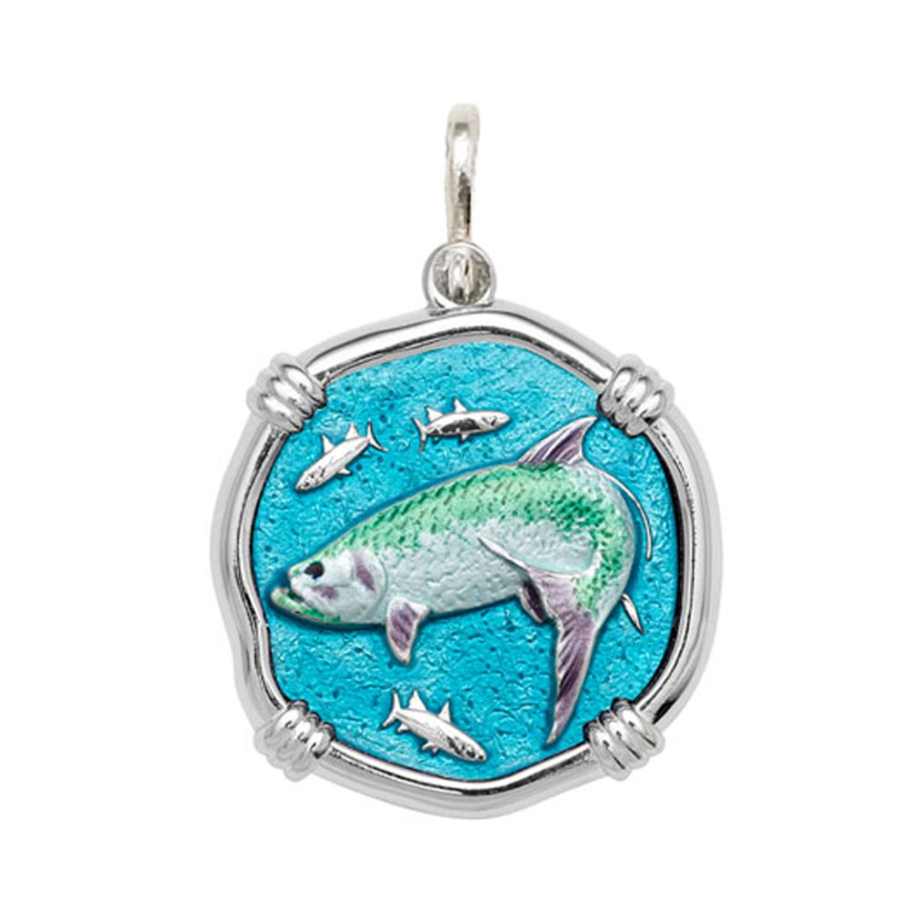 Guy Harvey Large size Full Color enameled Sterling Silver Tarpon Medallion